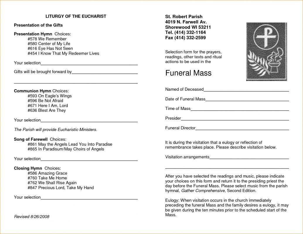 free memorial service program template template business