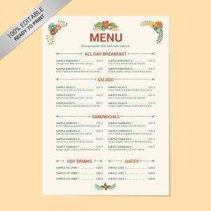 free menu templates editable restaurant menu free template download