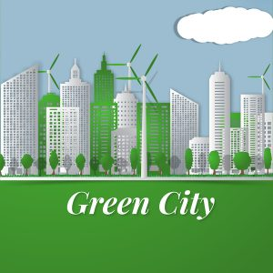 free name badge template green city template vectors material