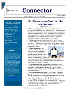 free newsletter template imc connector february page