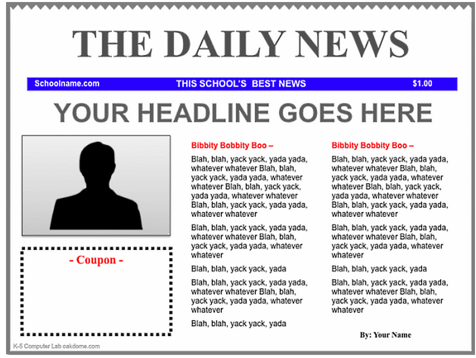 Free Newspaper Template Template Business