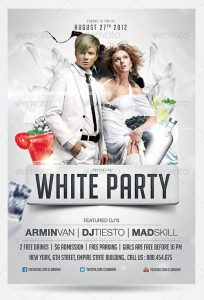 free party flyer templates white party flyer template
