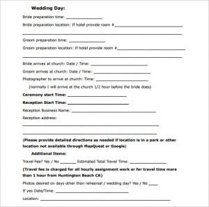 free photography contract sample wedding contract