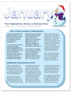 free preschool newsletter templates january newsletter template
