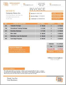 free price list template invoice everest design orange
