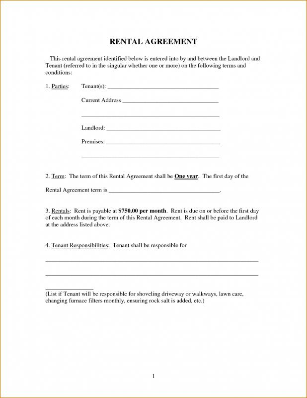 Free Printable Basic Rental Agreement  Template Business