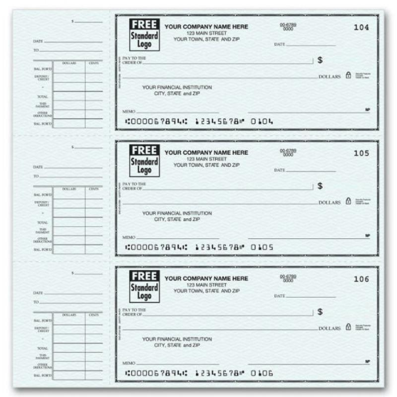 This is a graphic of Dynamic Printable Business Checks
