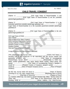 free printable child medical consent form child travel consent form x