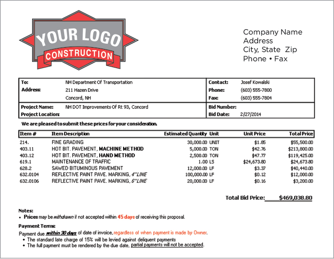 free printable contractor bid forms