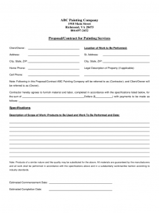 free printable contractor bid forms proposalcontract for painting services d