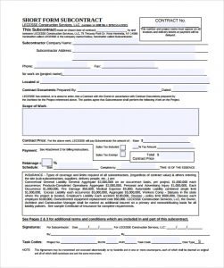free printable contractor bid forms subcontractor contract template pdf