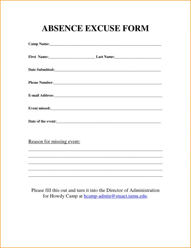 work excuse forms printable work excuse forms - Goal.goodwinmetals.co