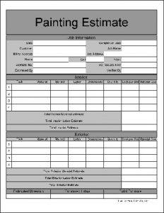 free printable estimate forms pef