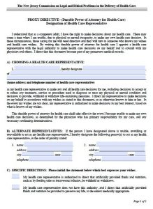 free printable legal guardianship forms new jersey proxy directive
