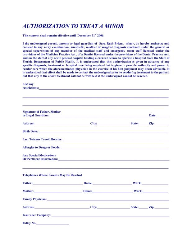 medical authorization forms for grandparents
