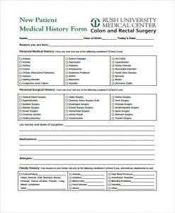 patient medical history form template