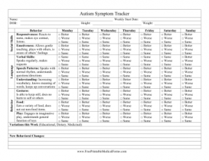 free printable medical history forms autism symptom tracker
