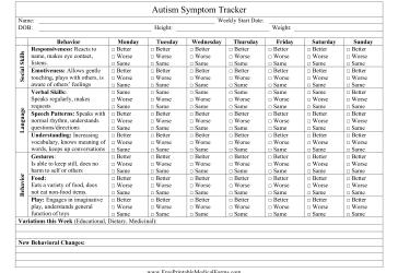 free printable medical history forms autism symptom tracker