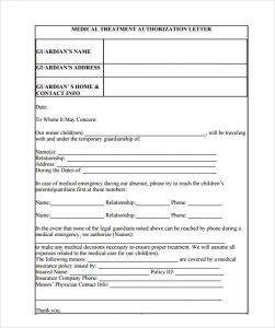free printable medical release form sample medical treatment authorization letter format
