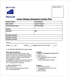 free printable medication list template insect allergy emergency action plan pdf download