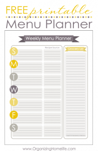 free printable menu template free printable menu planner