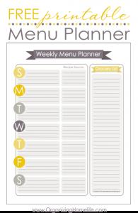 free printable menu template free printable menu planner