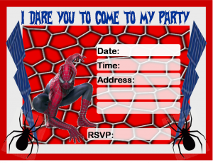 free printable menu template spiderman invitation printable free
