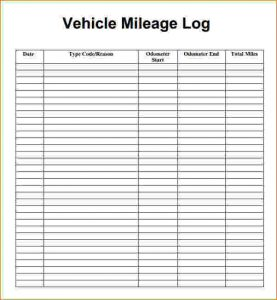free printable mileage log mileage tracking template mileage log template pdf