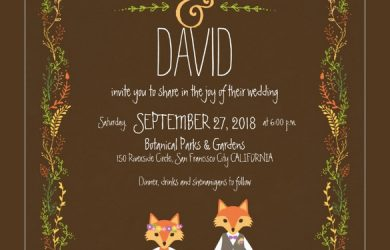 free printable postcard templates whimsical woodland foxes wedding invitation card example download