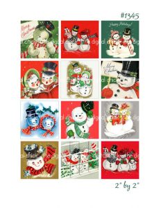 free printable postcards digital clipart vintage christmas card images snowman snowmen snow
