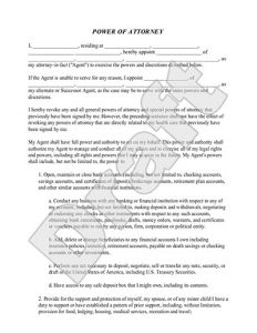free printable power of attorney forms power of attorney
