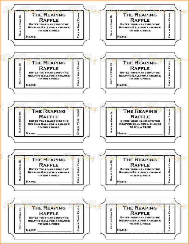 Free Printable Raffle Tickets  Template Business