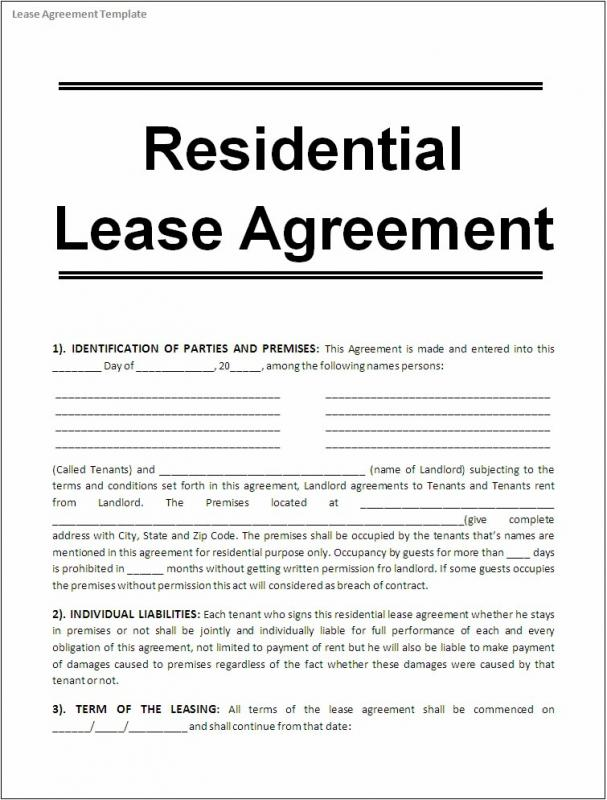 Free Printable Rental Agreements  Free Printable Residential Lease Agreement