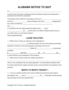 free printable rental agreements alabama eviction notice to quit form x