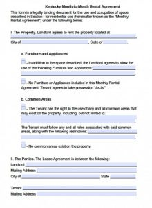 free printable rental agreements kentucky monthly rental agreement x