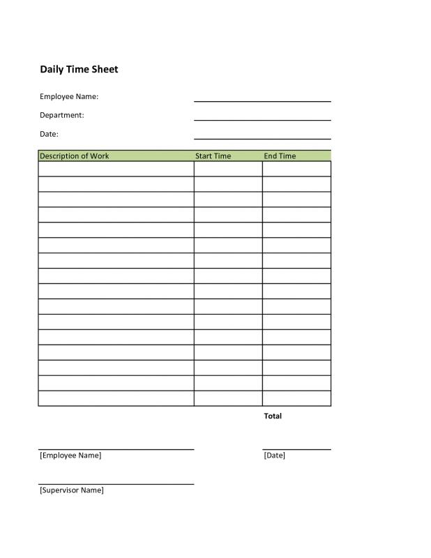 free printable time sheets