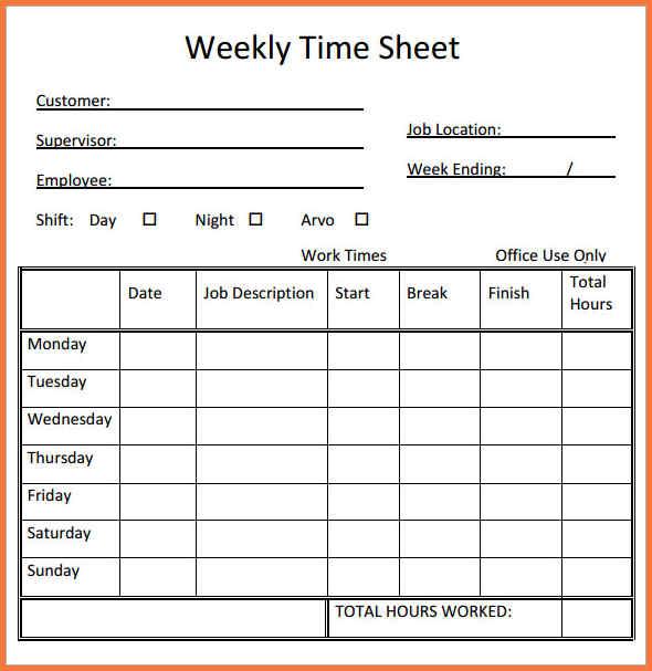 free printable timesheets