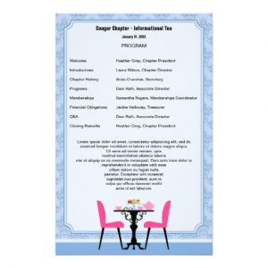 free printable wedding program templates word tea party program template