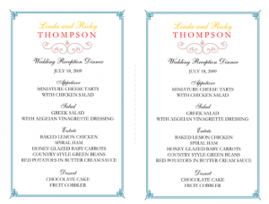 free printable wedding program templates word wedding reception menu template x