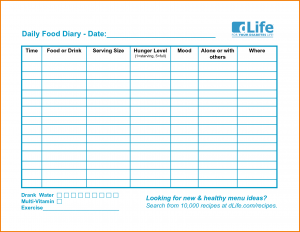 free program template food log template