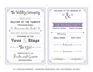 free program templates free printable wedding program templates