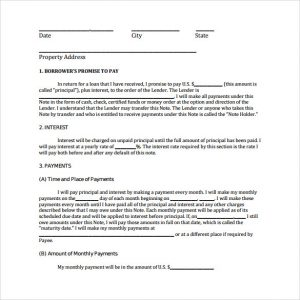 free promissory note template free promissory note template