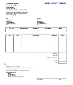 Free Purchase Order Template Template Business - Free purchase order template