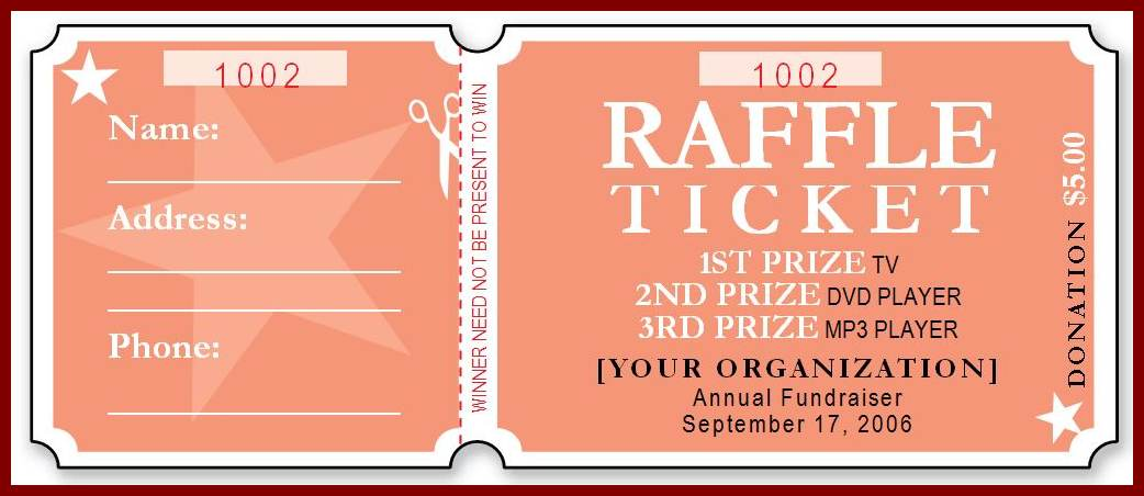 Free Raffle Ticket Template  Free Numbered Raffle Ticket Template