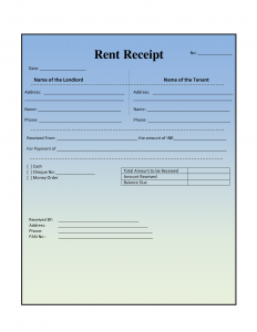 free rent receipt misc serene blue theme colors with rental property receipt per page
