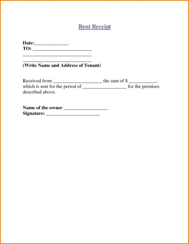 Free Rent Receipt Template  How To Write A Receipt For Rent