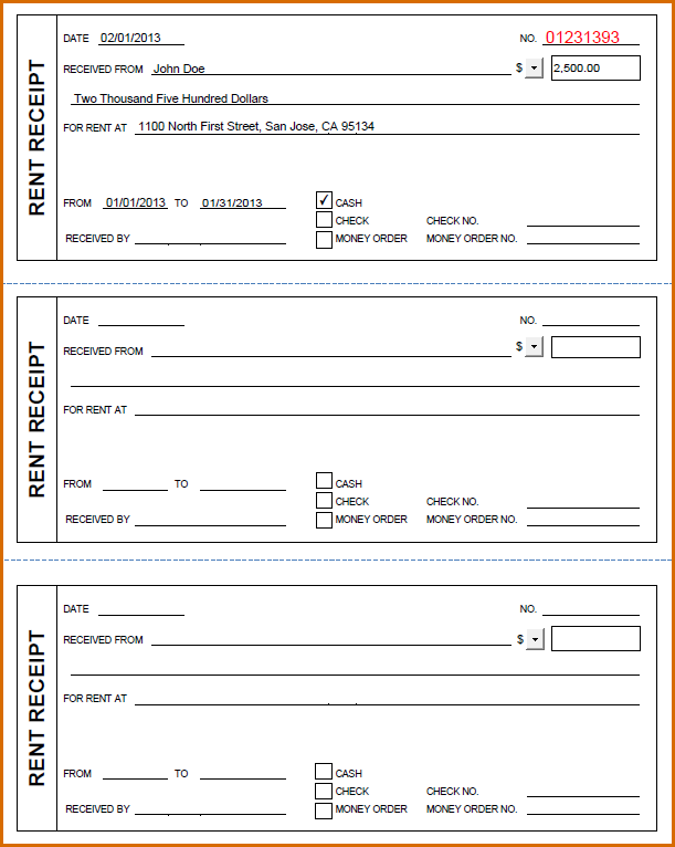Free Rent Receipt Template | Template Business
