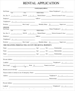 free rental application form property rental application form template