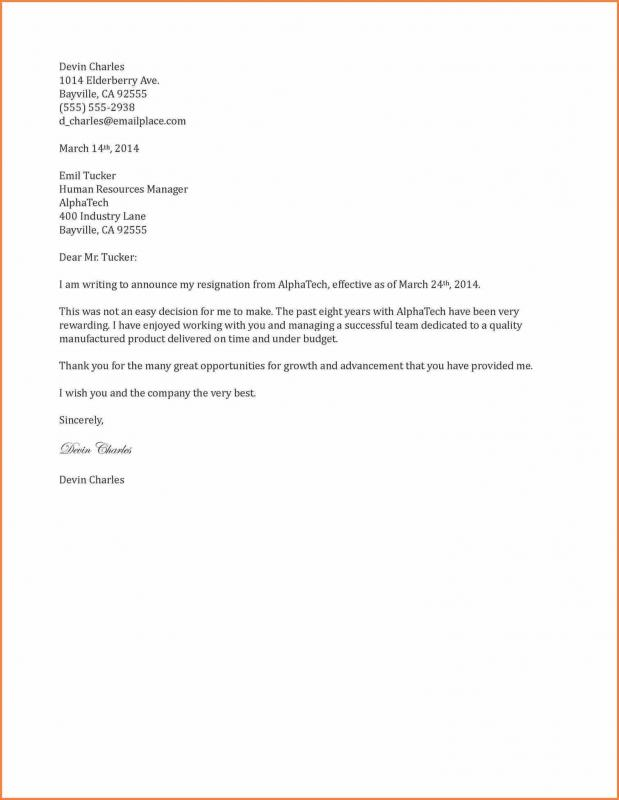 Free Resignation Letter | Template Business  Resignation Letters Samples