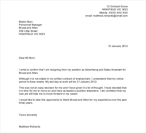 letter format for resignation from job